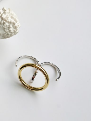 Sterling silver invisible design minimalist style color separation plating ring