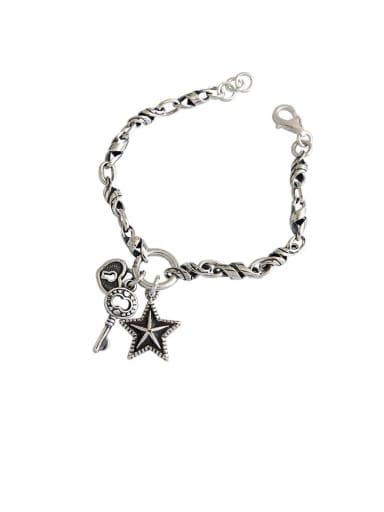 925 Sterling Silver With Antique Silver Plated Vintage Locket  Pentagram  Pendant Bracelets