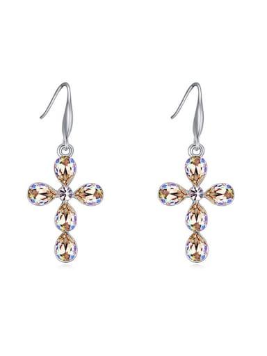 Simple Water Drop Swarovski Crystals Cross Alloy Drop Earrings
