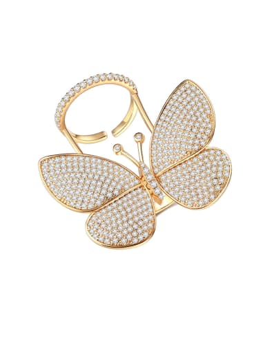 Copper With Gold Plated Exaggerated butterfly  Free Size Statement Rings