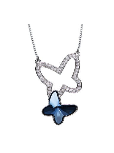 2018 2018 S925 Silver Butterfly-shaped Necklace