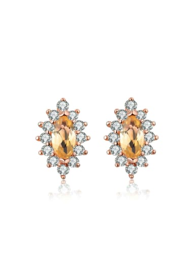 God's Eye-shape Natural Yellow Crystal Stud Earrings