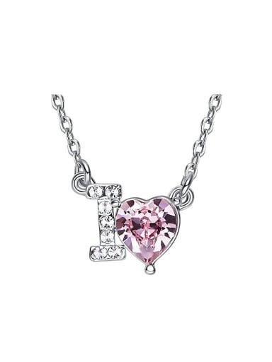 Fashion Heart-shaped Swarovski Crystal I Love Necklace