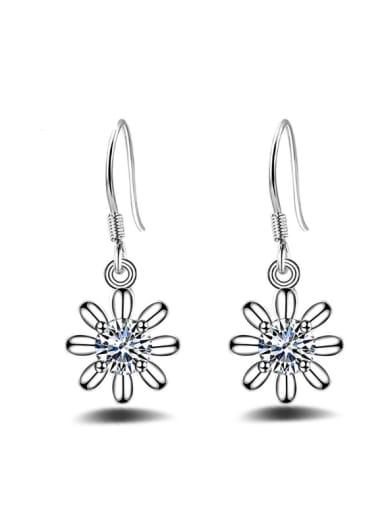 Flower Shaped Shining Zircons Drop Earrings