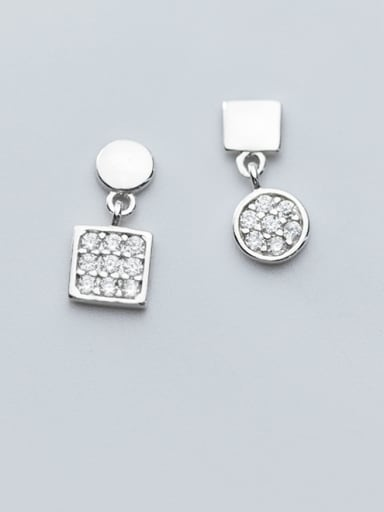 925 Sterling Silver With Cubic Zirconia Simplistic Geometric Stud Earrings