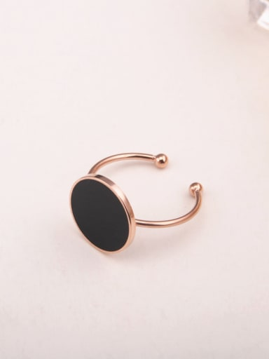 Black Round Simple Opening Ring