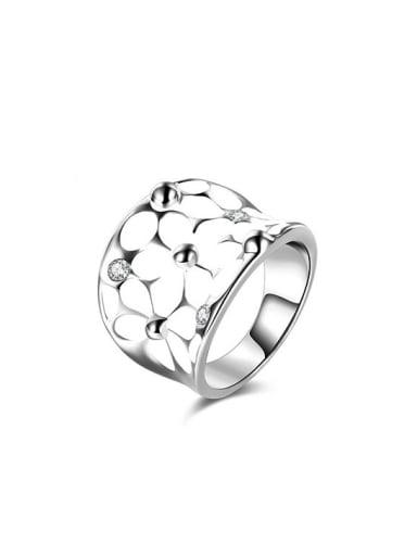 Personality Flower Pattern AAA Zircon Enamel Ring
