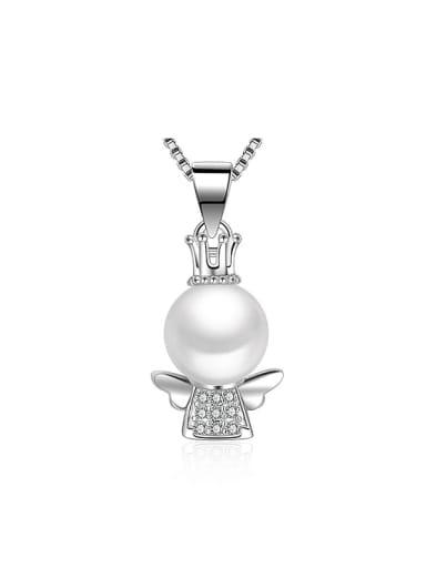 Personalized Little Angel Imitation Pearl Copper Pendant