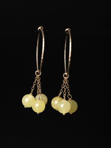 Fashion Natural Yellow stones 925 Silver Earrings