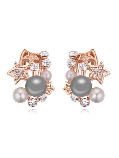 Fashion Imitation Pearls Stars Rose Gold Plated Alloy Stud Earrings