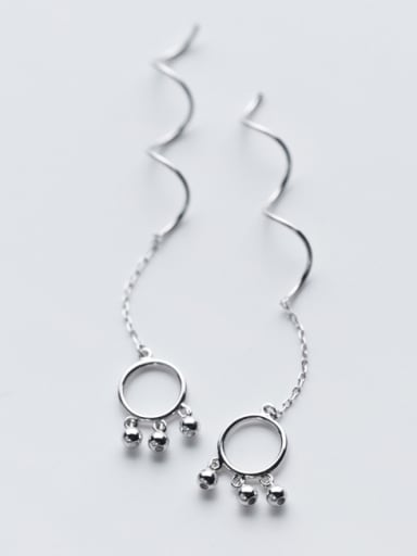 All-match Round Shaped Tiny Beads S925 Silver Line Earrings