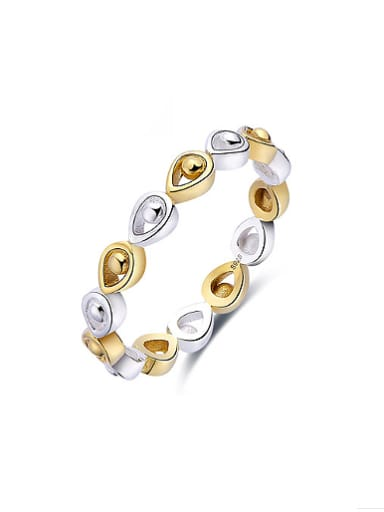 925 Silver Water Drop Shaped Double Color Ring