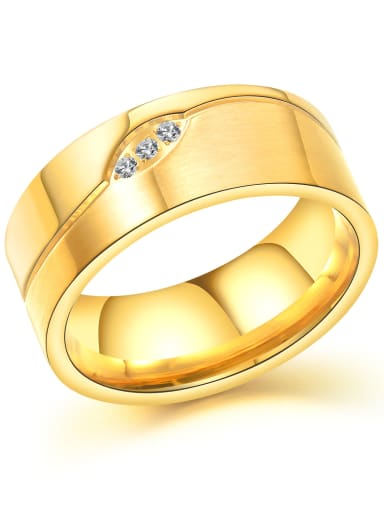 Stainless Steel With Gold Plated Classic Geometric Wedding Rings