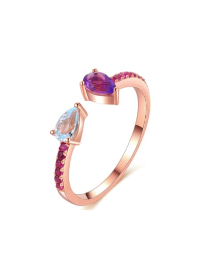 Simple Fashion Rose Gold Plated Opening Ring