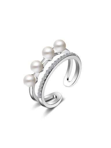 Fashion Two-band Imitation Pearls Opening Ring