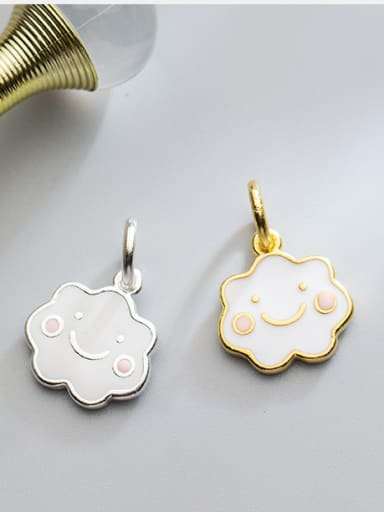 925 Sterling Silver With 18k Gold Plated Cute Irregular clouds Charms