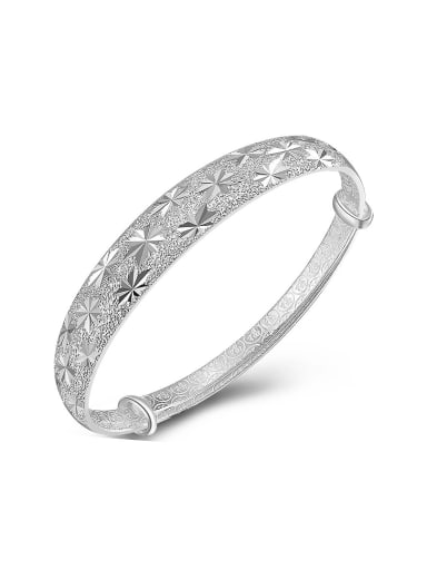 Simple 990 Silver Star Patterns-etched Adjustable Bangle