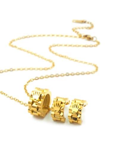 Three Pieces Crown-shape Pendant Titanium Hot Selling Necklace