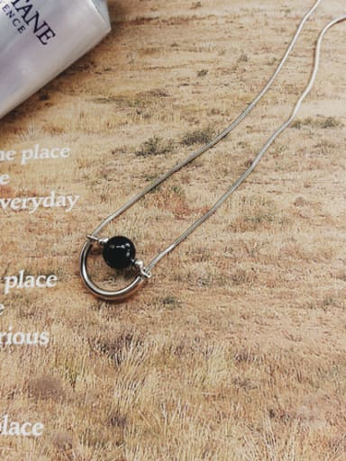 925 Sterling Silver With Platinum Plated Trendy Black Carnelian Necklaces