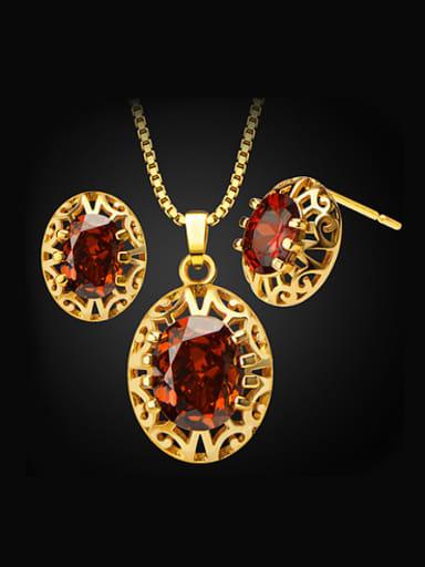 Fashion Oval Hollow Zircon Two Pieces Jewelry Set