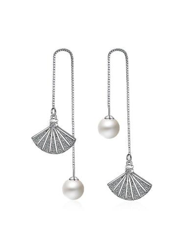 Shiny Fan shaped Imitation Pearl Line Earrings