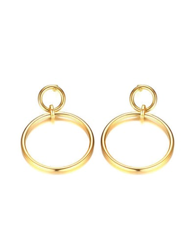 Temperament Gold Plated Round Shaped Titanium Drop Earrings