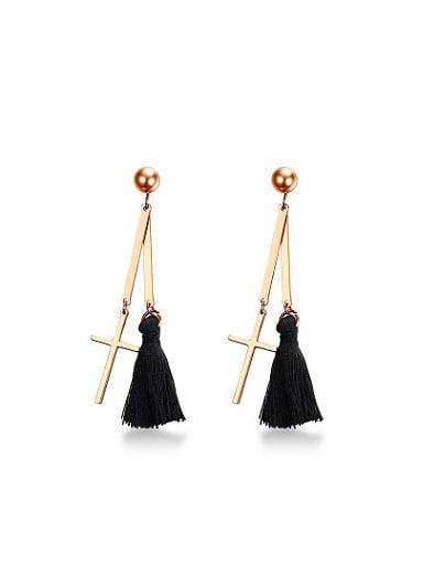 Exquisite Rose Gold Cross Shaped Tassel Drop Earrings