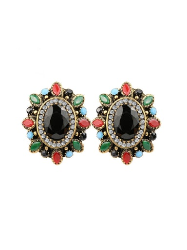 Bohemia Ethnic style Colorful Resin stones Alloy Earrings