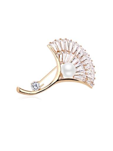 Copper 18K Gold Pearl Flower Shaped Zircon Brooch