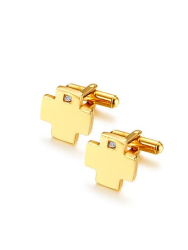 All-match Cross Shaped Rhinestone Titanium Cufflinks