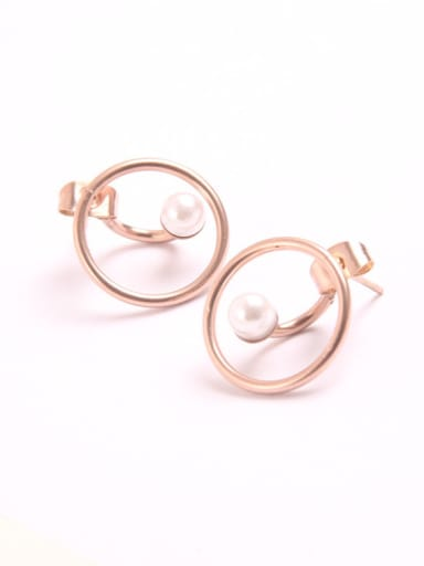 Rose Gold Plated Shell Pearl Stud Earrings