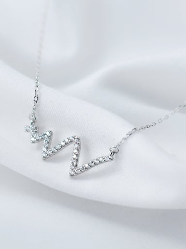 High Quality Letter W Shaped Rhinestone Silver Necklace