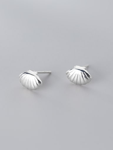 925 Sterling Silver With Platinum Plated Simplistic Smooth Shell  Stud Earrings
