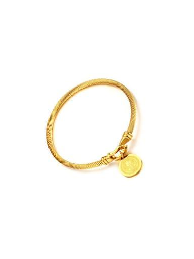 Trendy Gold Plated Round Shaped Titanium Bangle