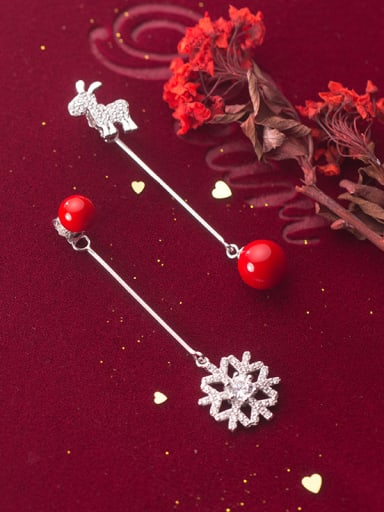 925 Sterling Silver With Platinum Plated Personality Snowflake Tassel Earrings