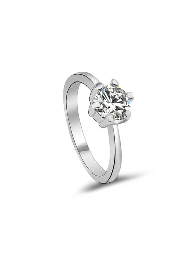 18K White Gold Plated Crown Shaped Zircon Engagement Ring