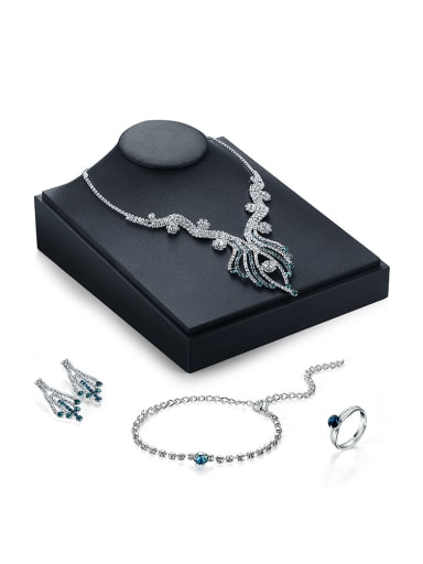 Alloy White Gold Plated Fashion Rhinestones Four Pieces Jewelry Set