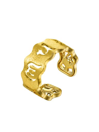 Copper Alloy 24K Gold Plated Ethnic Hollow Women Opening Ring