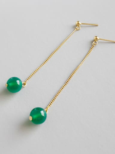 Pure silver 18k-gold green agate long earrings