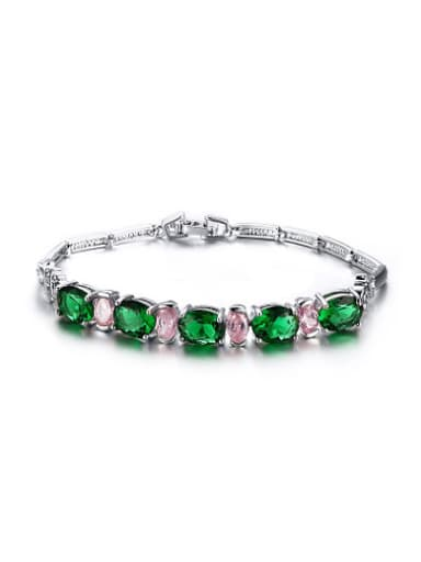 All-match Colorful Oval Shaped AAA Zircon Copper Bracelet