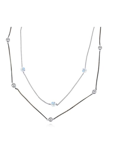 Simple Little Swarovski Crystals Double Layer Alloy Necklace
