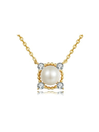 Square Shaped Necklace Gold Plated with Freshwater Pearl