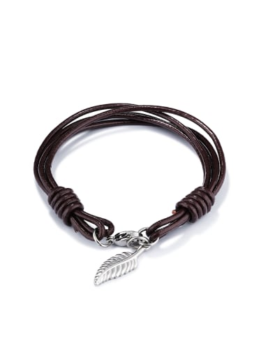 Retro style Brown Artificial Leather Leaf Bracelet