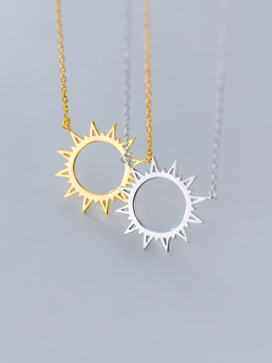 925 Sterling Silver With Gold Plated Simplistic  Sun Necklaces
