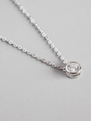 925 Sterling Silver With Platinum Plated Simplistic  cubic zirconia Necklaces