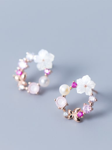 Women Fresh Flower Shaped Rose Gold Plated Pearl Stud Earrings