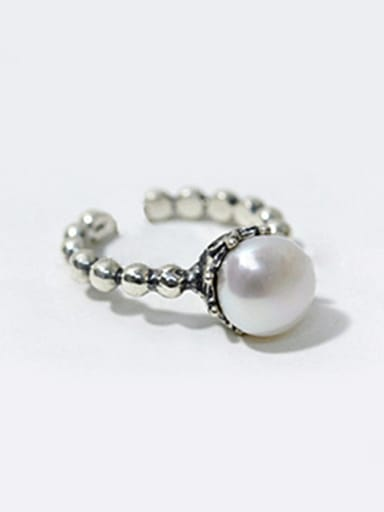 Simple Artificial Pearl Tiny Beads-band Opening Silver Ring