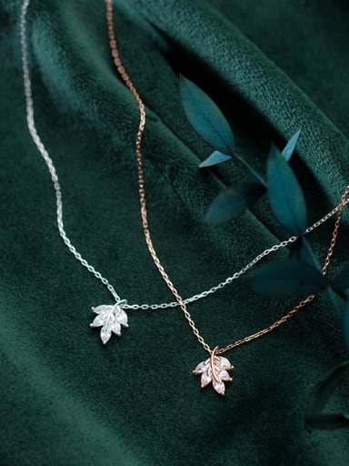 925 Sterling Silver With Silver Plated Personality Maple Leaf Necklaces