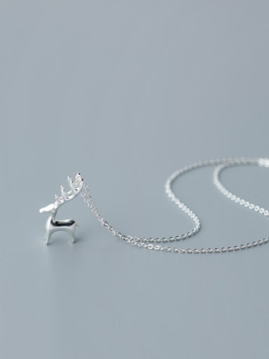 Miniature silver sweet elk Mini animal Necklace