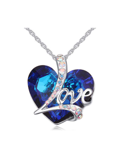 Fashion Love Heart Blue Swarovski Crystal Pendant Alloy Necklace